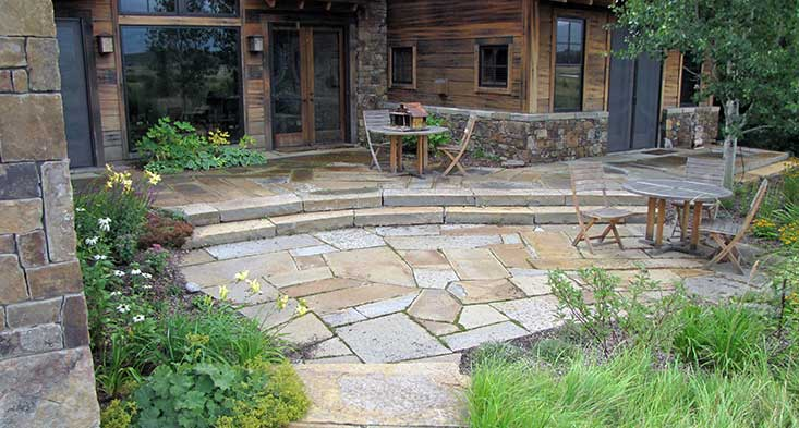 paving stone landscape design - south park landscaping - Natural Stone Patio Designs
